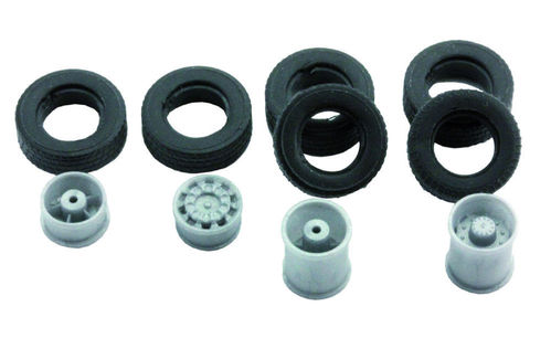 "Complete wheel set ""wide tire"" for 1:87 truck, 10-piece"