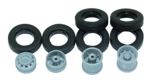 Complete wheel set for 1:87 truck, 10 pieces